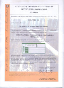 ACT: certificate of complaint activity of processing center n. 1046/10