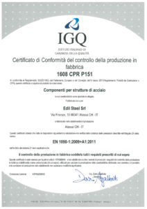 1090-2: CE certification produced for the execution of steel structures