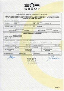 SOA: certificate of qualification to the execution of public works